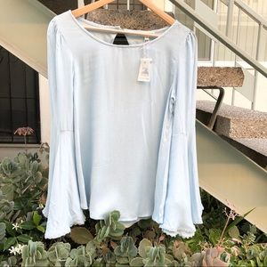 Light Blue Blouse with Bell Sleeves Size M